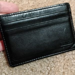 🌞FIRM Coach Card Holder Black Leather Slim